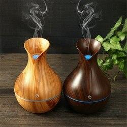 N20D nawilżacz dyfuzor olejów zapachowych drewna ziarna drewniany ultradźwiękowy nawilżacz powietrza USB fajne mini nawilżacz maker LED światła domu 130ml w Nawilżacze powietrza od AGD na