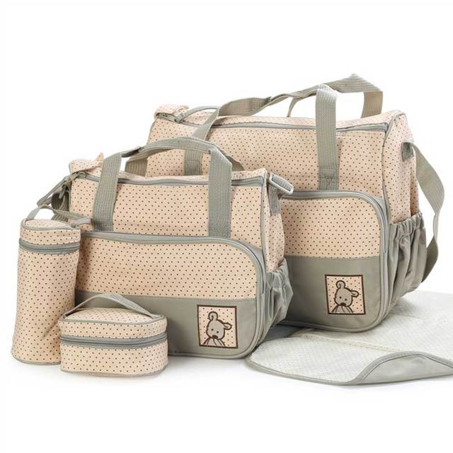 5 pcs/set Baby Care Diaper Bag Mummy Stroller Handbag Set Maternity Nursery Organizer Hobos Nappy Changing Mat Bottle Holder