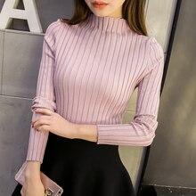 Корейская версия женской одежды, свитер с высоким воротником, тонкий вязаный свитер, осень и зима, стиль эластичности