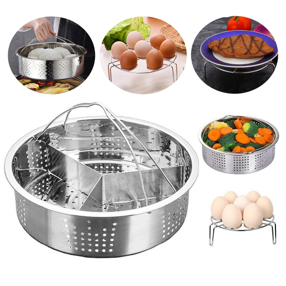 304 Stainless Steel Instant Pot Accessories Steamer Basket With Egg Steamer Rack Divider Fits Instant Pot