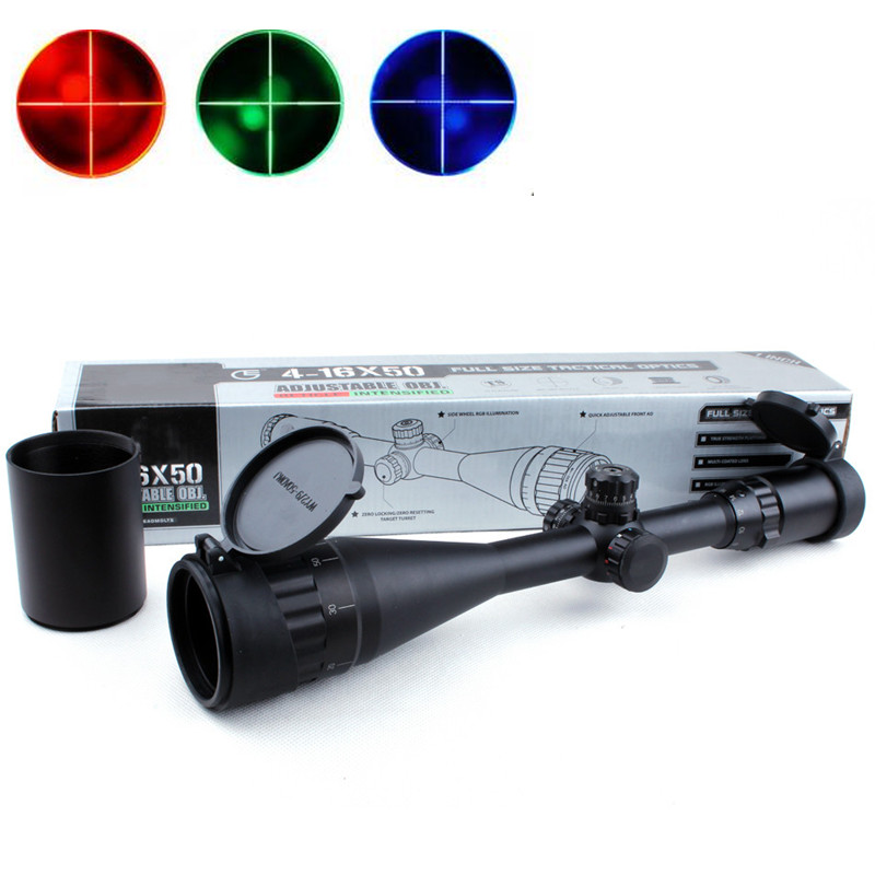 1 inch Full Size 4-16X50 AOL Red/Green/Blue Mil-Dot Illumination Hunting Riflescope Sight Military Tactical Rifle Scope canoeing recreational stencil 22 inch 60 mil ultraflex ind