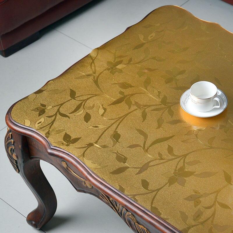 Nappe de table en verre souple | Nappe de table en verre souple, mode tapis de table en verre souple, imperméable, jetable à récurer, assiette en cristal pvc
