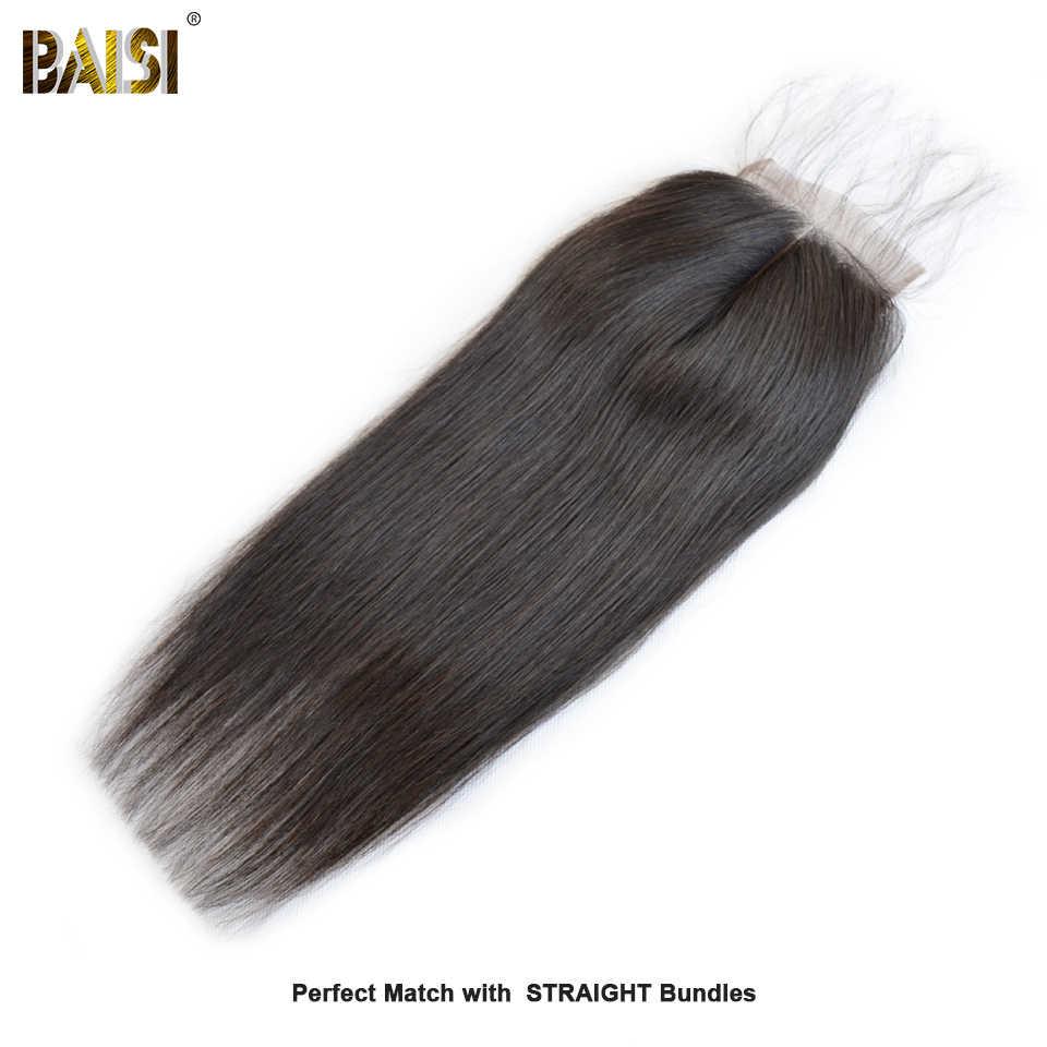 BAISI волосы перуанская прямая швейцарская шнуровка 4x4 средняя часть свободная часть три части 100% человеческих волос