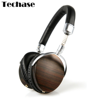 Techase Luxury HiFi Headphones Headband Wooden Wired Audifonos Professional Bass Sound Headset 3 5mm Dynamic Stereo