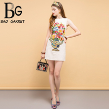 Baogarret New 2019 Fashion Designer Summer Dress Womens Beading Sequined Appliques Embroidery Elegant Vintage Mini Dresses