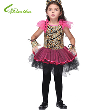 Halloween Costume Dress Headwear Glove Fancy Clothing Set For Girls Children Latin Dance Party Dresses Christmas