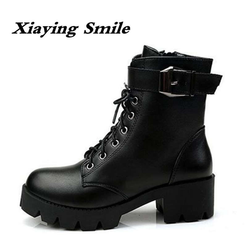 Xiaying Smile New Winter Style Women Boots Antieskid Mid Calf Boots Round Toe Lace Shoes Fashion Casual Warm Flock Rivet Boots xiaying smile winter women snow boots warm antieskid mid calf boots platform strap slip on flats casual women flock rubber shoes