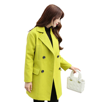 2016 Autumn And Winter New Wool Coat Long Paragraph Korean Slim Was Thin Woolen Coat Female