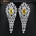 Cww marca Women partido jóias branco banhado a ouro de luxo quadrado amarelo CZ diamantes longo gota brinco com Zircon CZ315