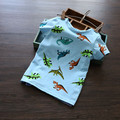 Новые 2015 детей футболки, динозавр Дизайн футболка Мальчики Дети С Коротким Рукавом Топы Футболки хлопок Тройники высокого качества