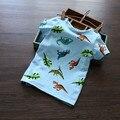 Novo 2015 crianças t-shirt, dinossauro Projeto Meninos camiseta Crianças Tops de Manga Curta T-shirt de algodão de alta qualidade T