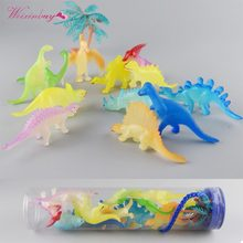 12pcs/lot Barrel Luminous Dinosaur Toy Plastic Play Toys Glow Light Dinosaur Model Action&Figures Gift for Children(China)