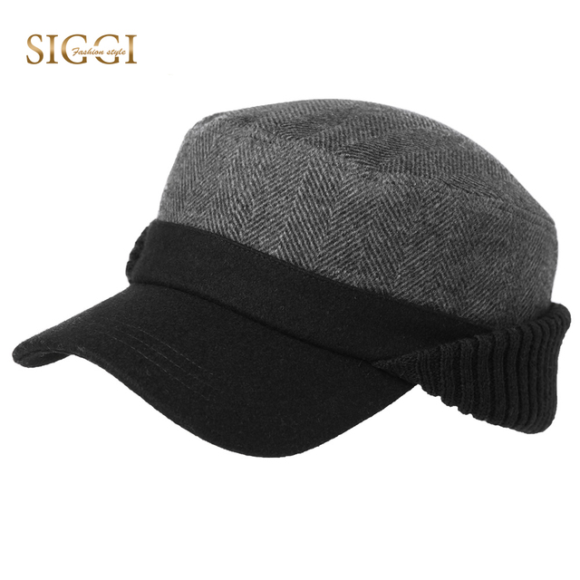 510834b52ac156 SIGGI Winter Warm Wool Military Hats For Men Flat Earflap Dad Norvezhka  Russia Hats Ushanka Gorro Earmuff Protection Army Caps
