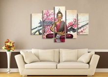 EVERFUN ART 100% hand-painted wall art thailand buddha painting on canvas (with frames)