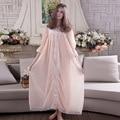 Mulheres Princesa Longo Nightgowns Nightdress Rosa Azul Do Vintage e Elegante Mulheres Camisola Doce Do Vintage Vestido De Algodão Para Casa Para Dormir