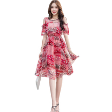Summer New Woman Beach Dress Floral Printed Ladies Elegant Chiffon Dress Short Sleeve Mid A-line Casual Sweet Dress Woman все цены