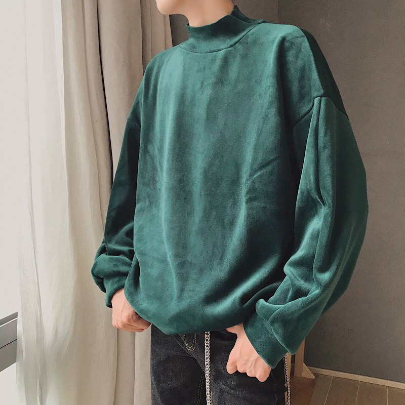 2020 Men's Fashion Thicken Velvet Fabric Coats High Collar Pullovers Loose Hoodies Casual Brand 4 Color Sweatshirts Size M-XL