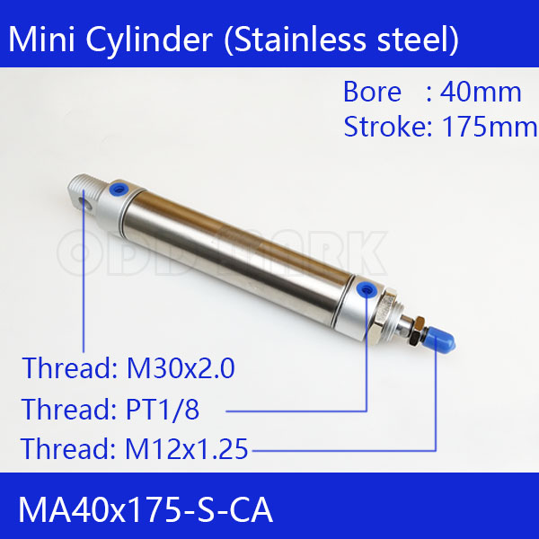 цены  Free shipping Pneumatic Stainless Air Cylinder 40MM Bore 175MM Stroke , MA40X175-S-CA, 40*175 Double Action Mini Round Cylinders