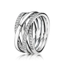 b1cf7eb69 Authentic 925 Sterling Silver Eternity Entwined Silver & Zirconia Ring For Women  Wedding Engagement Gift Fine Pandora Jewelry