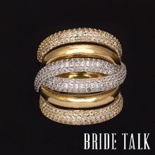 הכלה דיבור מותג יוקרה AAA מעוקב Zirconia מיקרו פייב הגדרת גדול רב שכבתי מלא אצבע טבעת חתונה & אירוסין תכשיטים