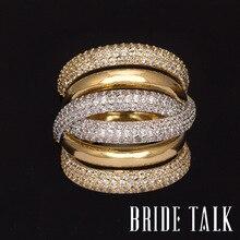 Bride Talk Anillo de boda y compromiso de Zirconia cúbica AAA, Micro pavé, ajuste grande, varias capas