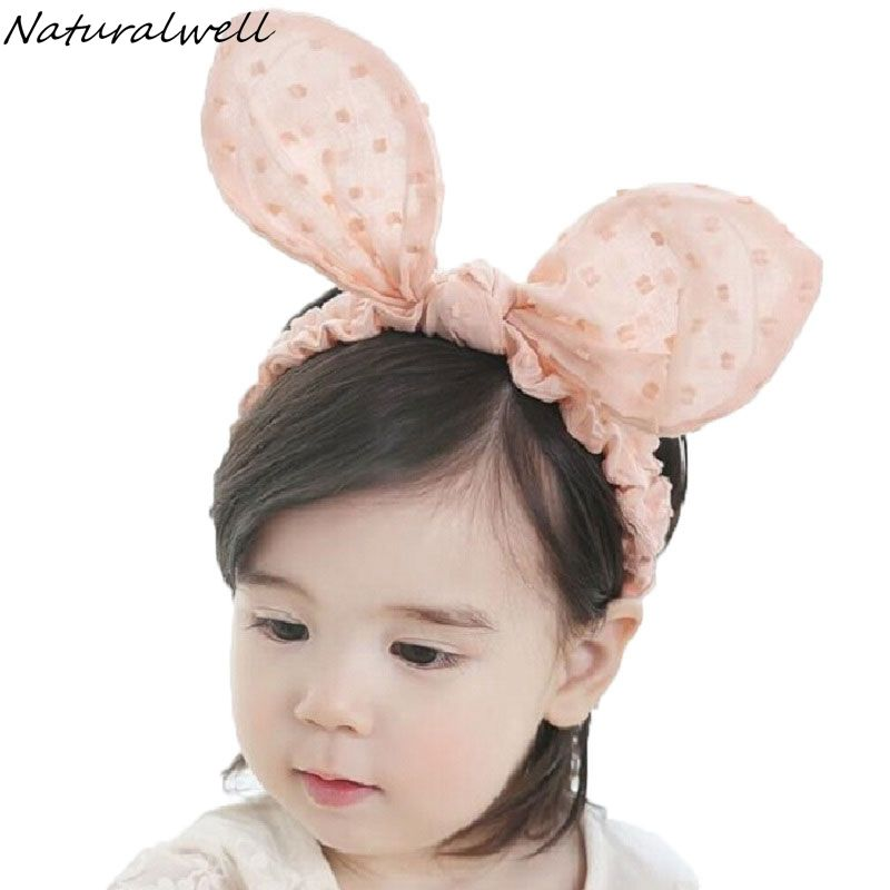 Naturalwell Baby girls Rabbit Ears Elastic Headband Child Halloween Birthday Toddler Headwear Hair band Accessories Easter 1pc
