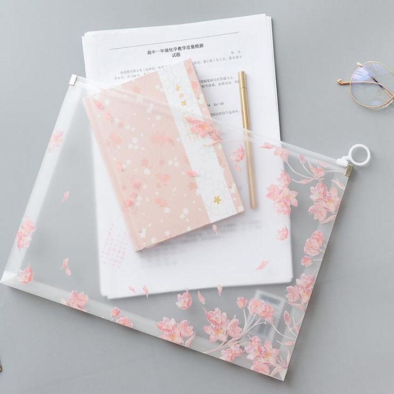 1 Pcs Kawaii Cherry Sakura Button Office Zipper File Folder A4 School Office Supplies Children Student Gifts Stationery