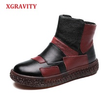 XGRAVITY Genuine Leather Ankle Boots Elegant Warm Women Fashion Round Toe Soft Sole Short Mix Color Shoes Lady Boot A083