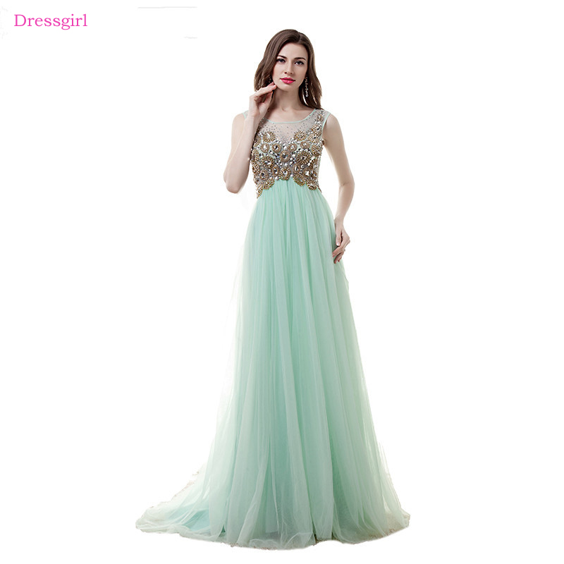 Mint Green Evening Dresses 2018 A-line Cap Sleeves Tulle Crystals ...