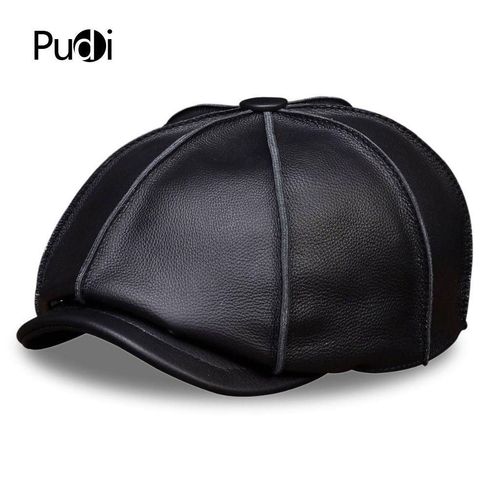 HL058 HOMMES véritable cuir casquette de baseball marque nouveau réel en cuir béret casquettes chapeaux
