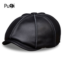 HL058 MEN'S genuine leather baseball cap hat brand new real leather golf beret caps hats