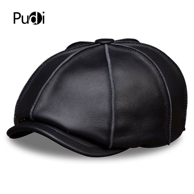 1c1022cc HL058 MEN'S genuine leather baseball cap hat brand new real leather beret caps  hats