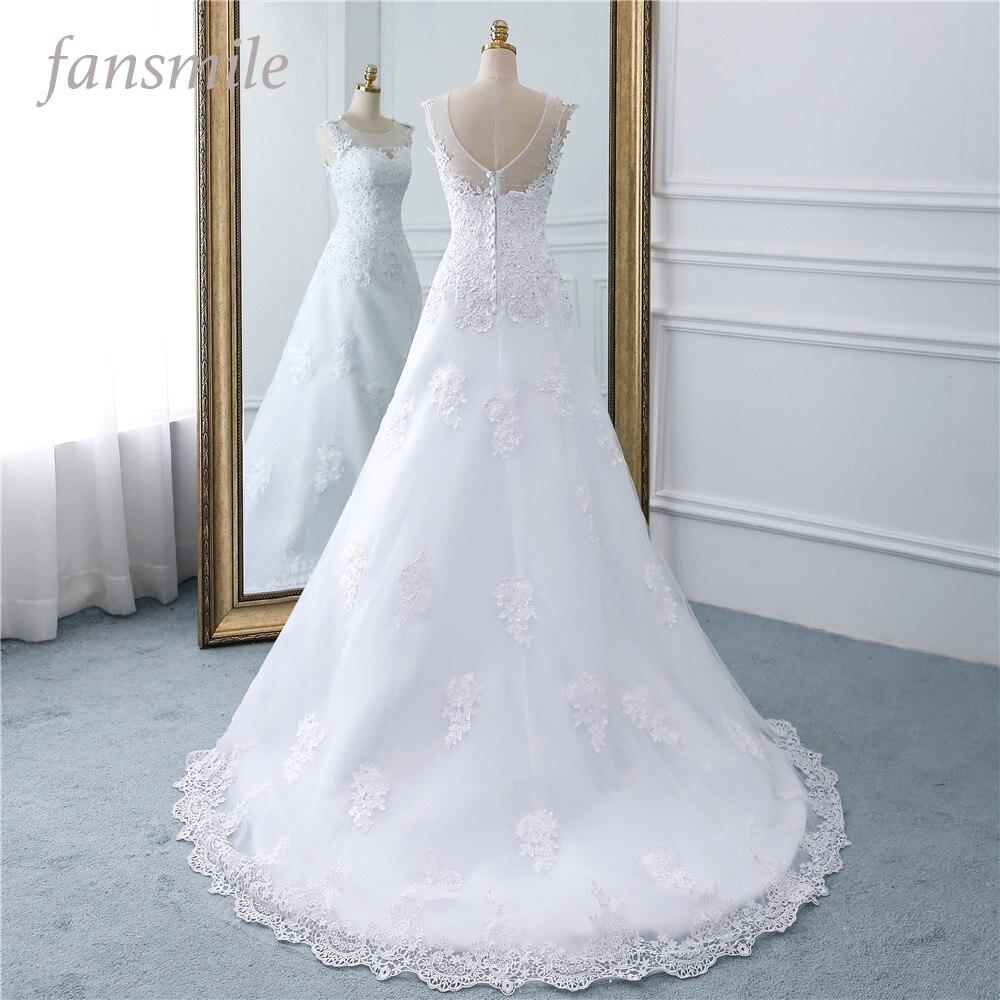Fansmile New Arrival A Line Wedding Dresses 2019 Plus Size Customized Vestidos de Novia Princess Wedding