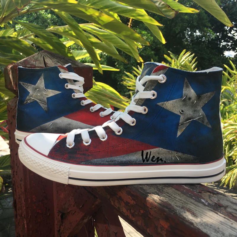 Puerto Rican Flag High Top Painted Custom Canvas Shoes Men -2087