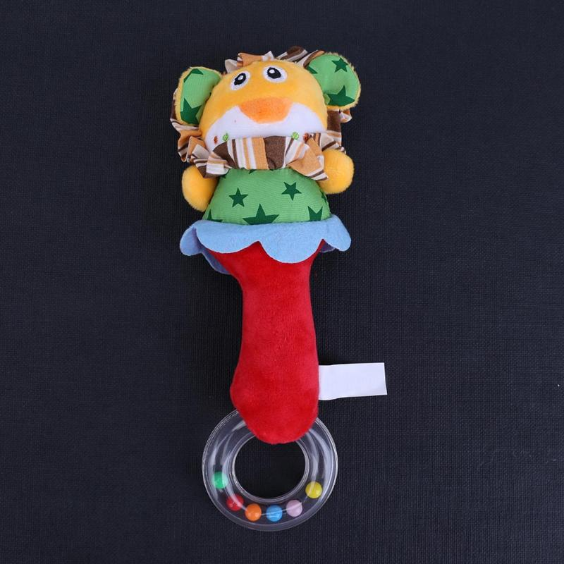 Cute Baby Hand Ring Bell Stick Toy Lovely Cartoon Lion Baby Rattle Toys Tinkle Hanging Toy Babies Doll Educational Gift Present