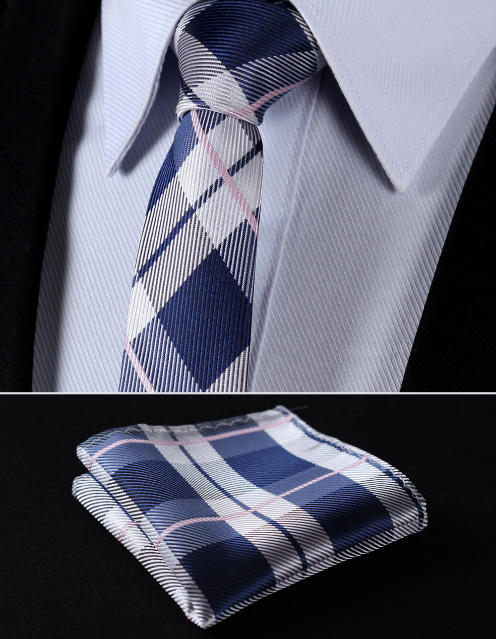 "TC4030A5 Gray Navy Blue Check 2.17"" 100%Silk Woven Slim Skinny Narrow Men Tie Necktie Handkerchief Pocket Square Suit Set"