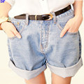 High Waist Denim Shorts Women Vintage Roll-up Hem Jeans Shorts Loose Plus Size Harem Hotpants Women Casual Denim Mini Shorts XL