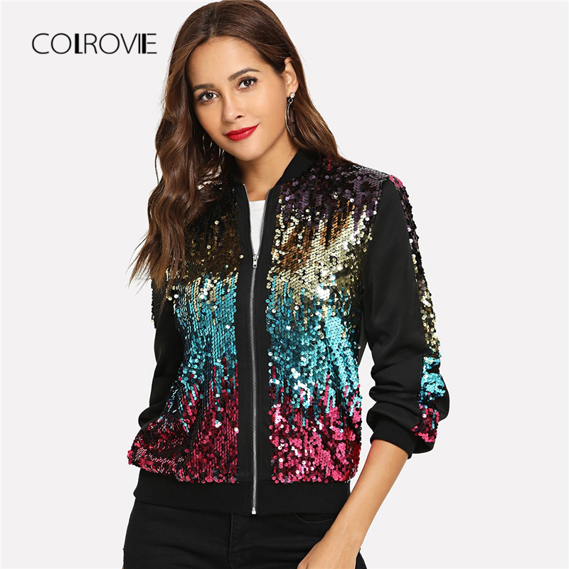 COLROVIE Casual Zip Up Basic Sequin Jacket Women 2018 Autumn Highstreet Bomber Jacket Coat Women Feminino Coats Outwear Clothes