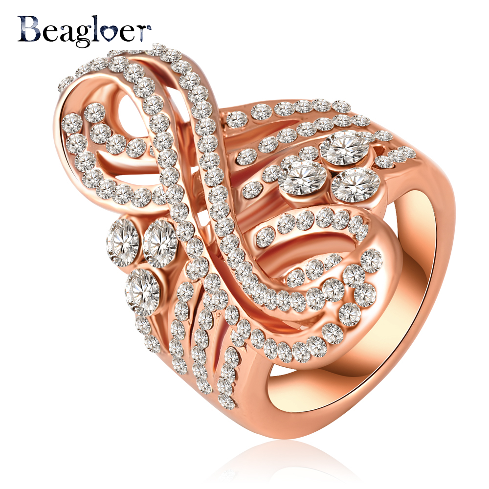 Beagloer Rose Gold Color Musical Note Engagement Rings Pave Austrian Crystal Fashion Jewelry Ri-HQ0200