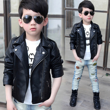 New  Kids Coat Leather Baby Jacket Boy Black and Red Camperas Ninos