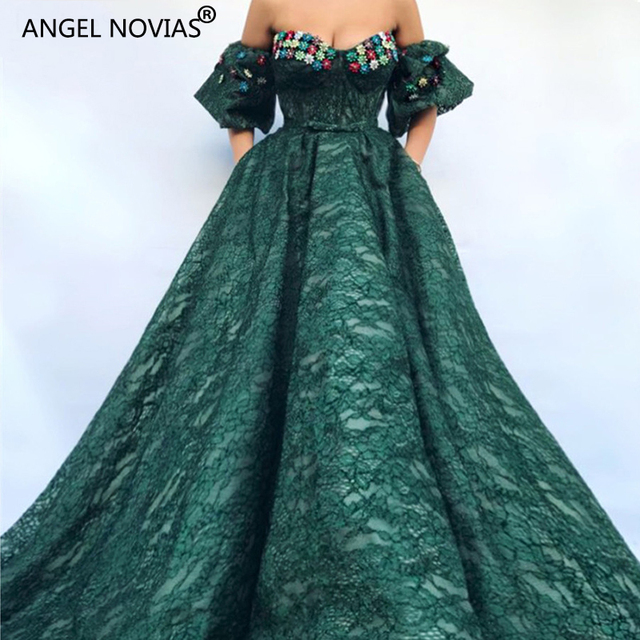 dd33a224be US $261.0 10% OFF|ANGEL NOVIAS Long Green Ball Gown Lace Abendkleider  Lebanon Saudi Arabic Women Evening Dresses 2018 with Sleeves Avondjurken  -in ...
