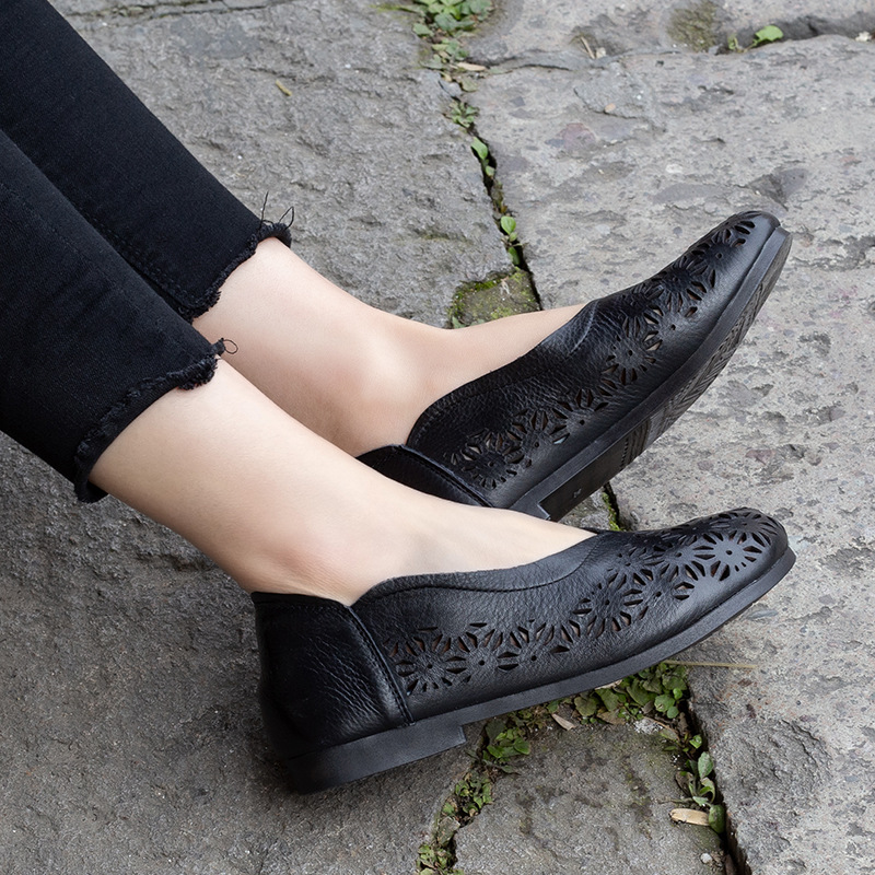 Women Leather Loafer Black Hollow Out Casual Shoes Women Flats Spring 2019 Embroidery Handmade Genuine Leather