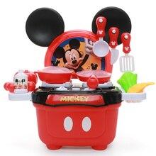 Disney Kitchen Set Toys Kitchen Stove Mickey Minnie Model Diy Kitchenware Boy Girl Gifts Educational Pretend Play Toys for Kids