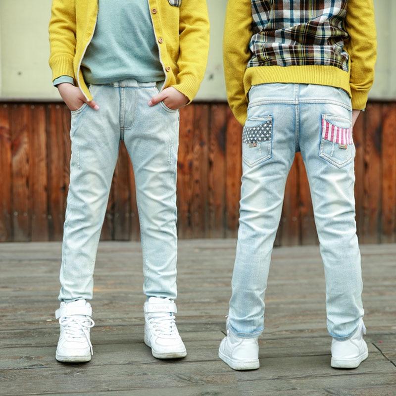 IENENS Kids Boy Jeans Denim Pants Clothes Youth Boy Stylish Slim Long Trousers