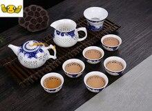 10 STÜCKE Durchbrochene set von hohl kung fu kombination, blauen und weißen keramik teekanne set, gute giftsDelicate honeycomb hohl tee-set