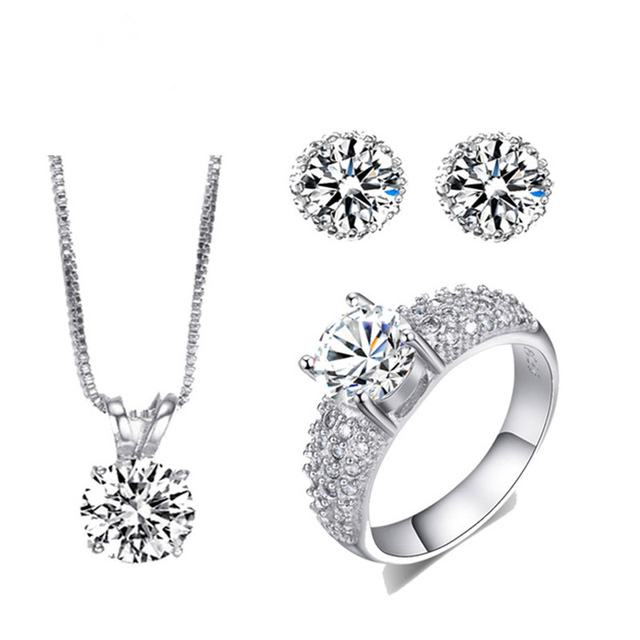 Vintage Wedding Jewelry Sets Silver Plated Aaa Cz Stone Jewellery Engagement Necklace Earring Ring Femme Parure