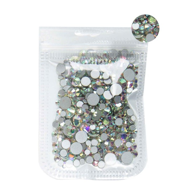 350 шт, 5 грамм, смешанные размеры, ss3-ss30, синий/зеленый/розовый/белый опал, 3D хрустальные стразы для дизайна ногтей, плоские с оборота стеклянные украшения для ногтей - Цвет: Crystal AB