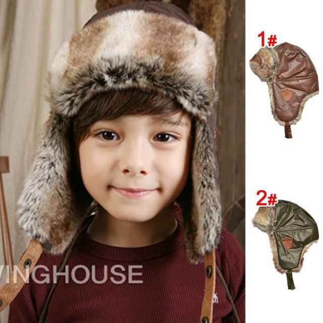 20c82f6201d New Children Windproof Hats Kids Winter Earflap Snow Hat Ear Warmer Earmuff  Leifeng Baby Boy Hats Caps for 3-8 years DH00017