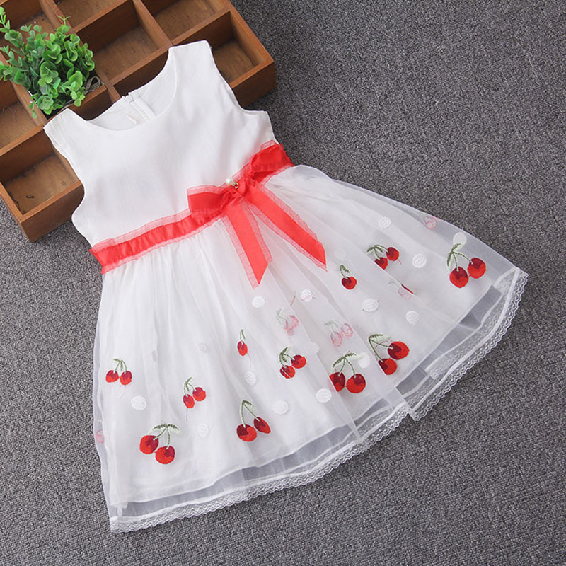 Summer Cherry Toddler Girls Dress Kids Party Clothes Sleeveless Children's Princess Dresses for Girl with Ribbons 3-9T 2 Color 2017 baby girls dress summer cherry print a line sleeveless princess dresses kids cotton party dress children clothes for 3 11y