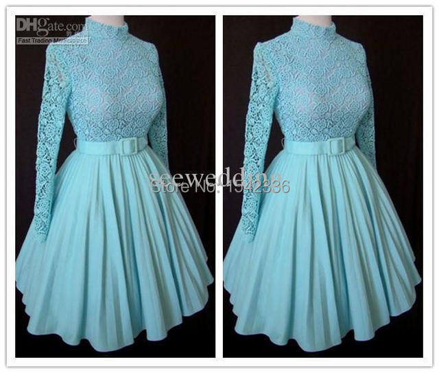 Custom Vintage 1960s Short Prom Dresses A Line Lace Long Sleeves